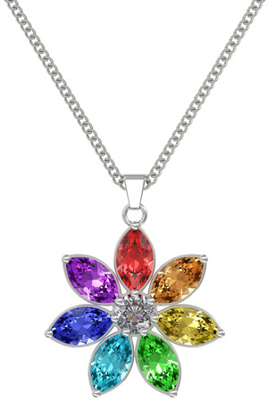 Silver or platinum pendant with colorful gemstones on chain isolated on white background. High resolution 3D image photo