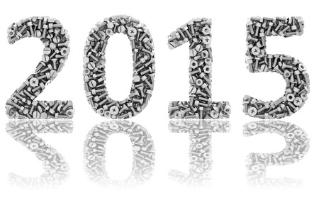 2015 digits composed of differnt bolts and nuts on glossy white background. High resolution 3D image photo