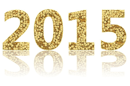 2015 digits composed of small golden stars on glossy white background. High resolution 3D image