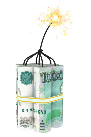 money to burn: Dynamite composed of ruble bills with a burning wick. High resolution 3D image Stock Photo
