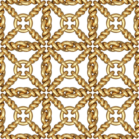 Seamless pattern of gold wire mesh or fence on white background. High resolution 3D image photo