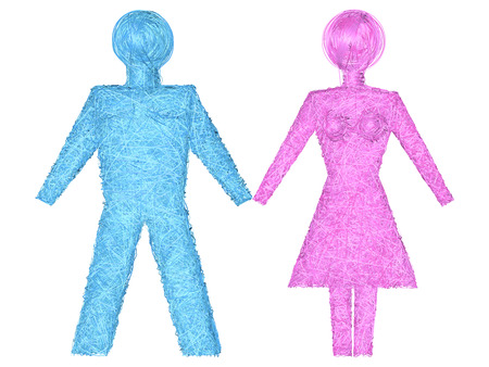 female sex: Male and female shapes composed of blue and pink stripes isolated on white background. High resolution 3D   image