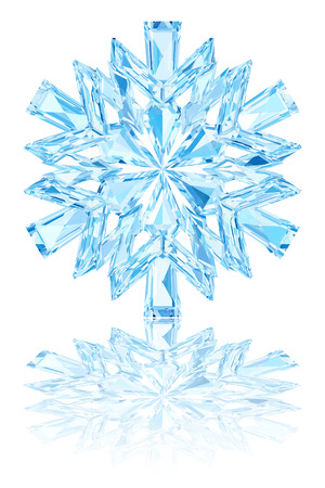 Light blue crystal snowflake on glossy white background. High resolution 3D image Stok Fotoğraf