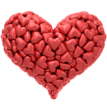 Heart shape composed of many red hearts isolated on white. High resolution 3D image photo