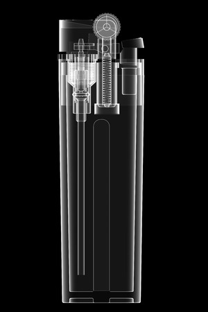 inward: X-ray view of lighter isolated on black background. High resolution 3D image Stock Photo