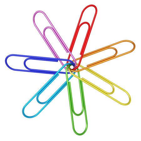 Colorful paper clips chained together on white background. High resolution 3D image Archivio Fotografico