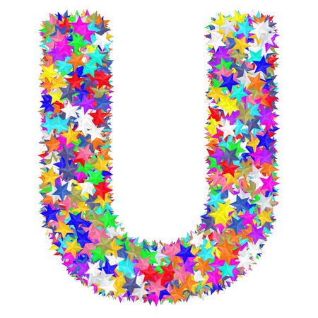Alphabet symbol letter U composed of colorful stars isolated on white. High resolution 3D image