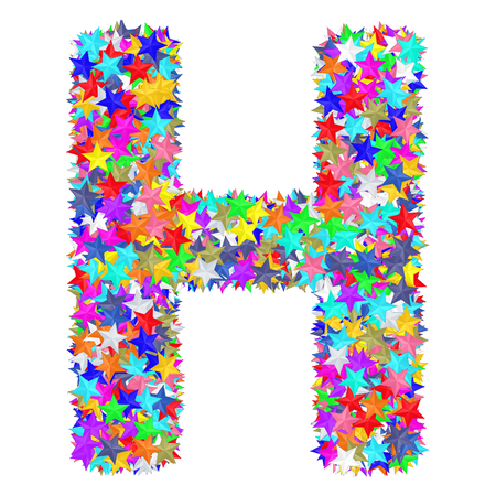 Alphabet symbol letter H composed of colorful stars isolated on white. High resolution 3D image