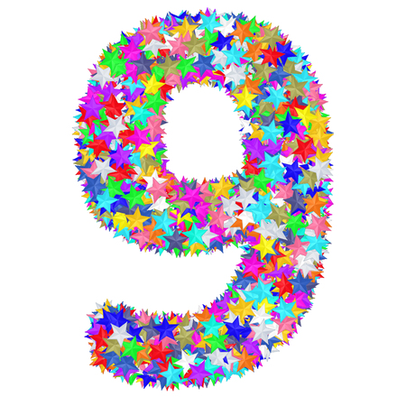 Alphabet symbol number 9 composed of colorful stars isolated on white. High resolution 3D image 免版税图像