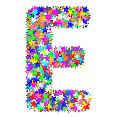 Alphabet symbol letter E composed of colorful stars isolated on white. High resolution 3D image Zdjęcie Seryjne