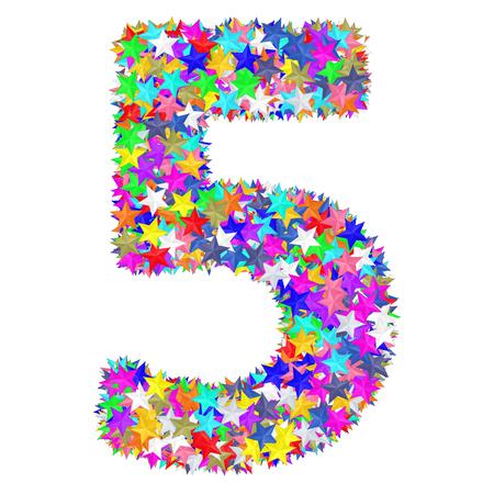 Alfabet symbool nummer 5 samengesteld uit kleurrijke sterren geïsoleerd op wit. 3D-afbeelding met hoge resolutie Stockfoto