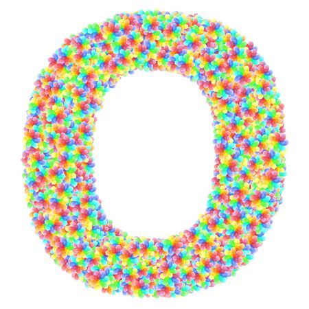 Alphabet symbol letter O composed of colorful glass flowers isolated on white. 3D illustration