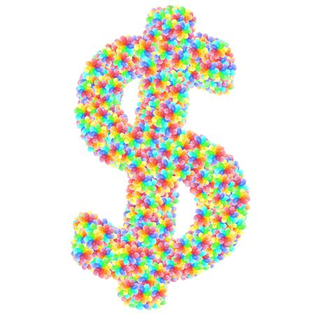 Alphabet symbol dollar sign composed of colorful glass flowers isolated on white. 3D illustration Banco de Imagens