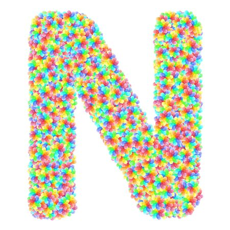 Alphabet symbol letter N composed of colorful glass flowers isolated on white. 3D illustration