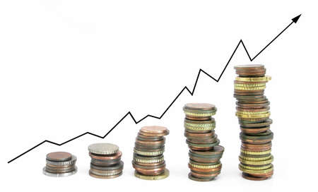 Business graph that goes Up from Silver to Gold... Stock Photo