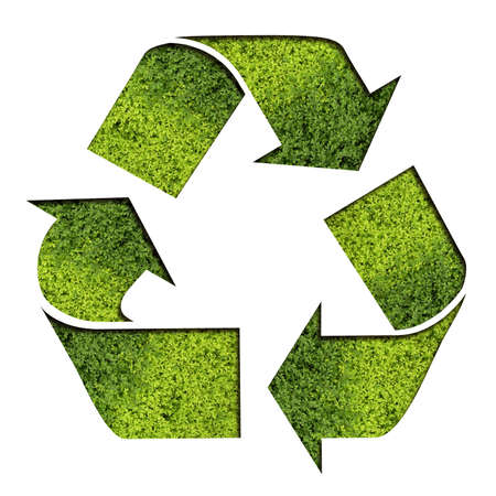 superimpose: A green recycle symbol with some mossgrass texture   Stock Photo