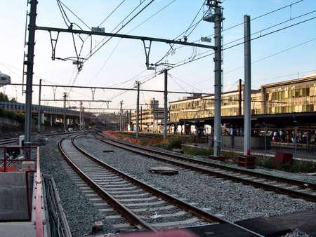 ヨーロッパ ベルギーの鉄道駅からのレール