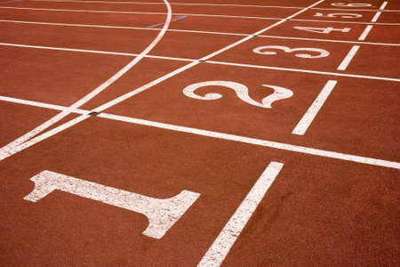 Red race track from an old sports competition stadium. Stock Photo - 960876