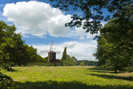 ベルギーの孤立した農村環境の中の風車