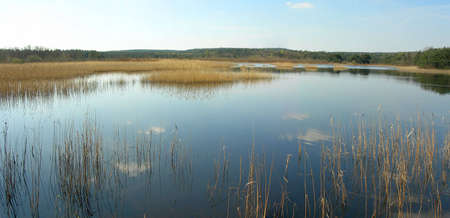 A large panorama of a lake somewhere in Belgium