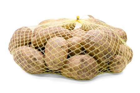 A net-bag with potatoes inside, isolated on a white background