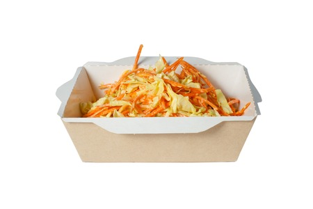 Cabbage salad with carrots, in white box