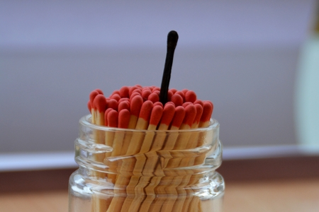 matches in a glass