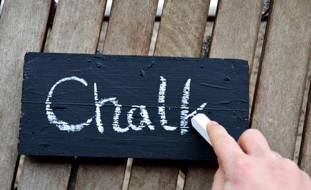 chalk on a blackboard writen