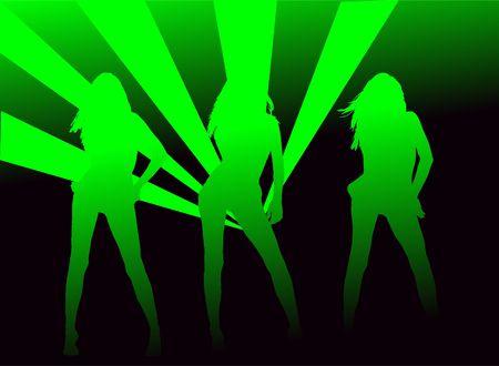 y meisjes in de disco