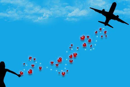 vliegtuig, harten, sterren silhouet en liefde. Stockfoto