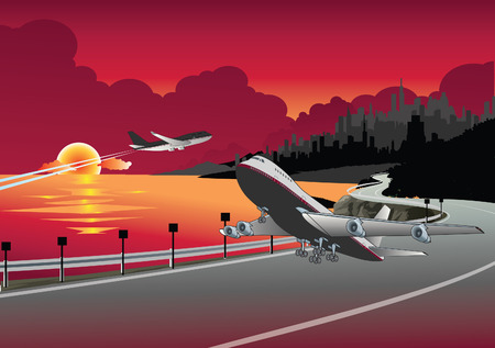Aeroport  on sunset sky background. Illustration
