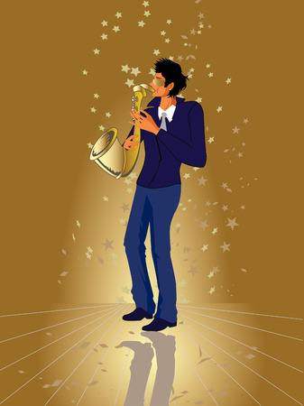 Illustratie van een Saxofonist spelen