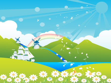 Spring landscape with ship on River passing through mountains