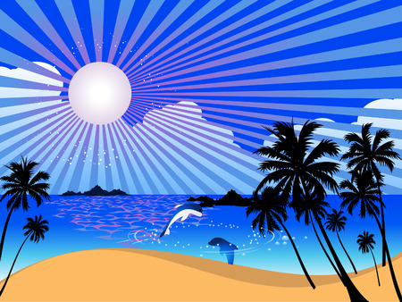 dolphin: Vector  summer landscape with palm trees Illustration