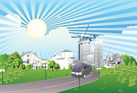 Big vector  city at sunrise Vector