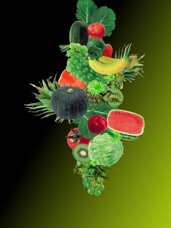 wallpeper of fruits and vegetables.