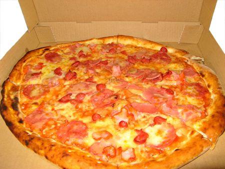 Pizza In A Cardboard Box geïsoleerd op wit