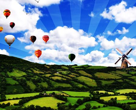 Light Green Field With hot air balloons landing  photo