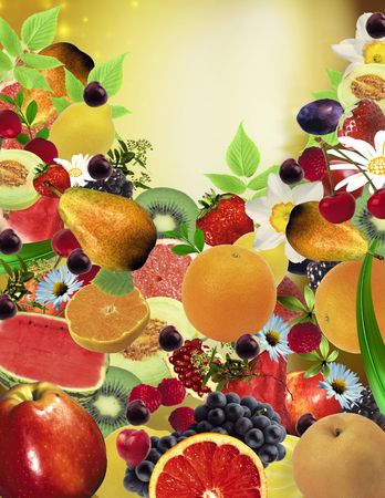 Mixed fruits and flowers background
