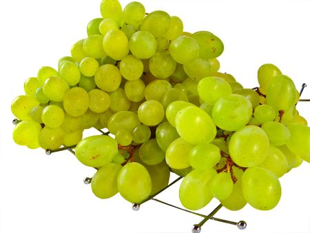 viticulture: Close up of green grapes isolated on white Stock Photo