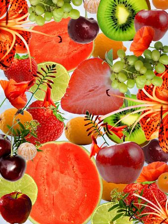Conceptual piece: mixed fruits and flowers  background Stock Photo