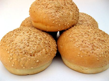 all american burger: Fresh roll burgers isolated - ready for breakfast