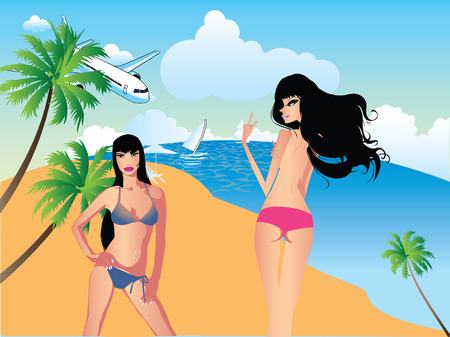 Vector of two girl on the beach Illustration