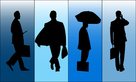 work worker workforce world: Silhouette of Business man on individually colored panels