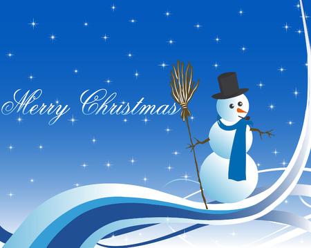 Kerst wenskaart illustratie met sneeuwpop
