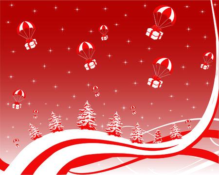 Kerst wenskaart: geschenken vliegen boven de besneeuwde bomen Stock Illustratie