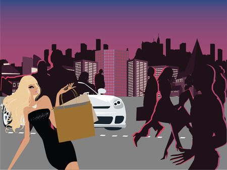 Shopping in the city at night time Illustration