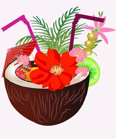 Coco cóctel tropical con frutas y aceitunas