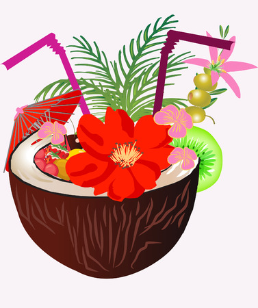 Coconut Tropical cocktail with fruit and olives Vector