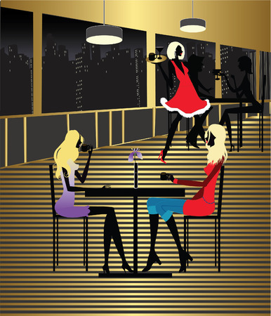Two Girls at the cafe shop and waiter Illustration